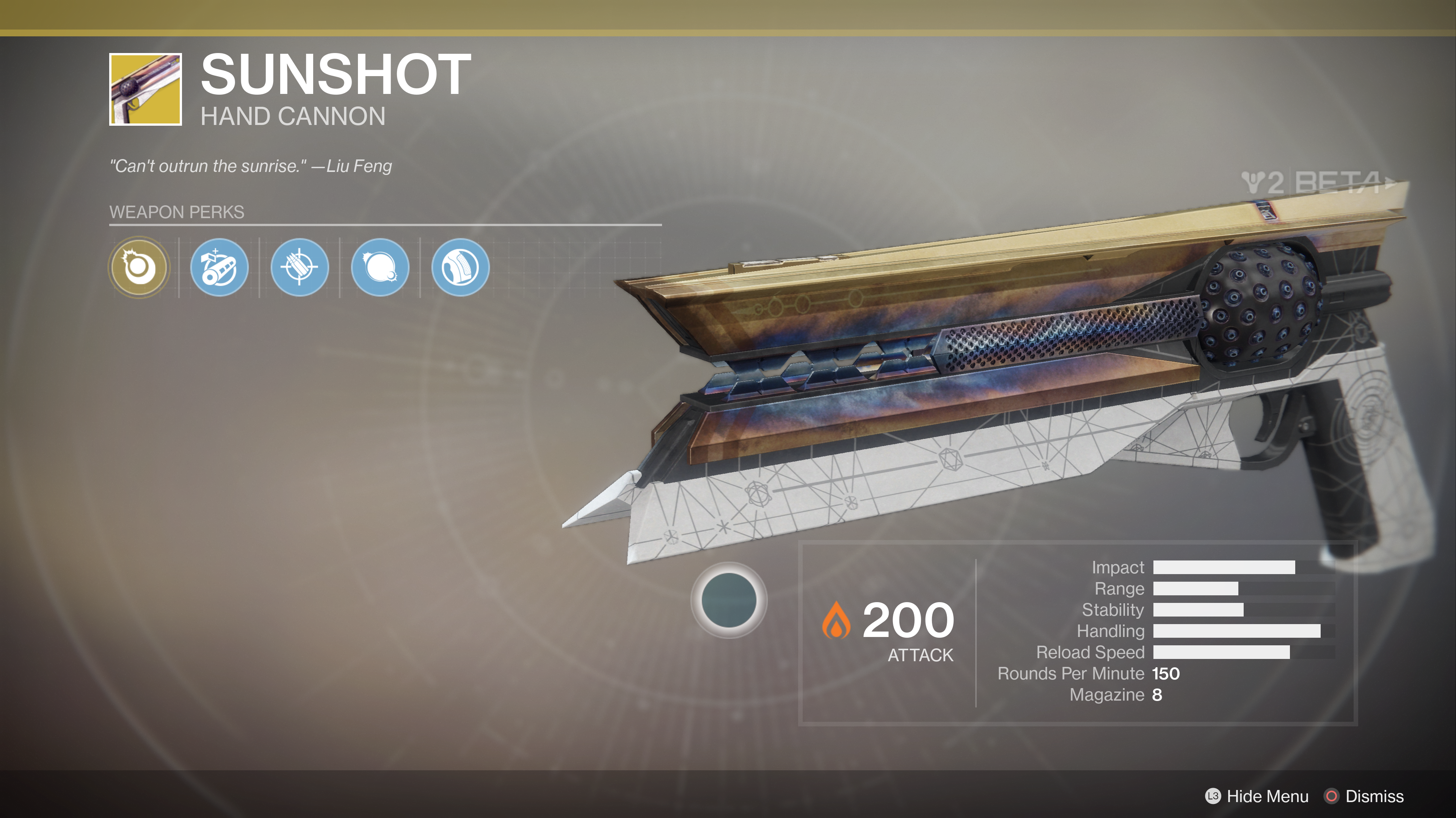 destiny 2 beta sunshot exotic hand cannon