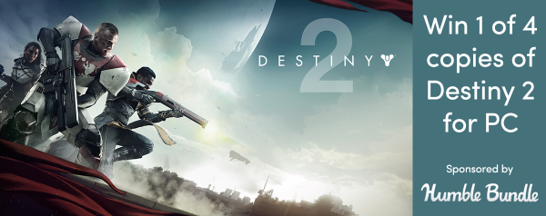 Win one of four copies of Destiny 2 on PC with Jelly Deals and Humble Store